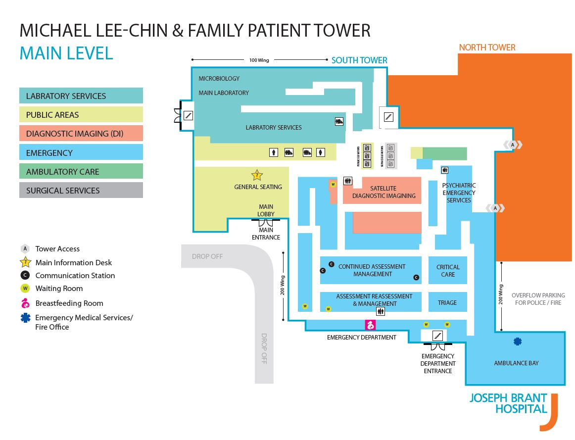 Map of Main Level in new Patient Tower.