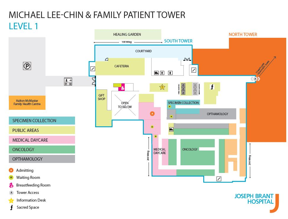 Map of Level 1 in new Patient Tower.