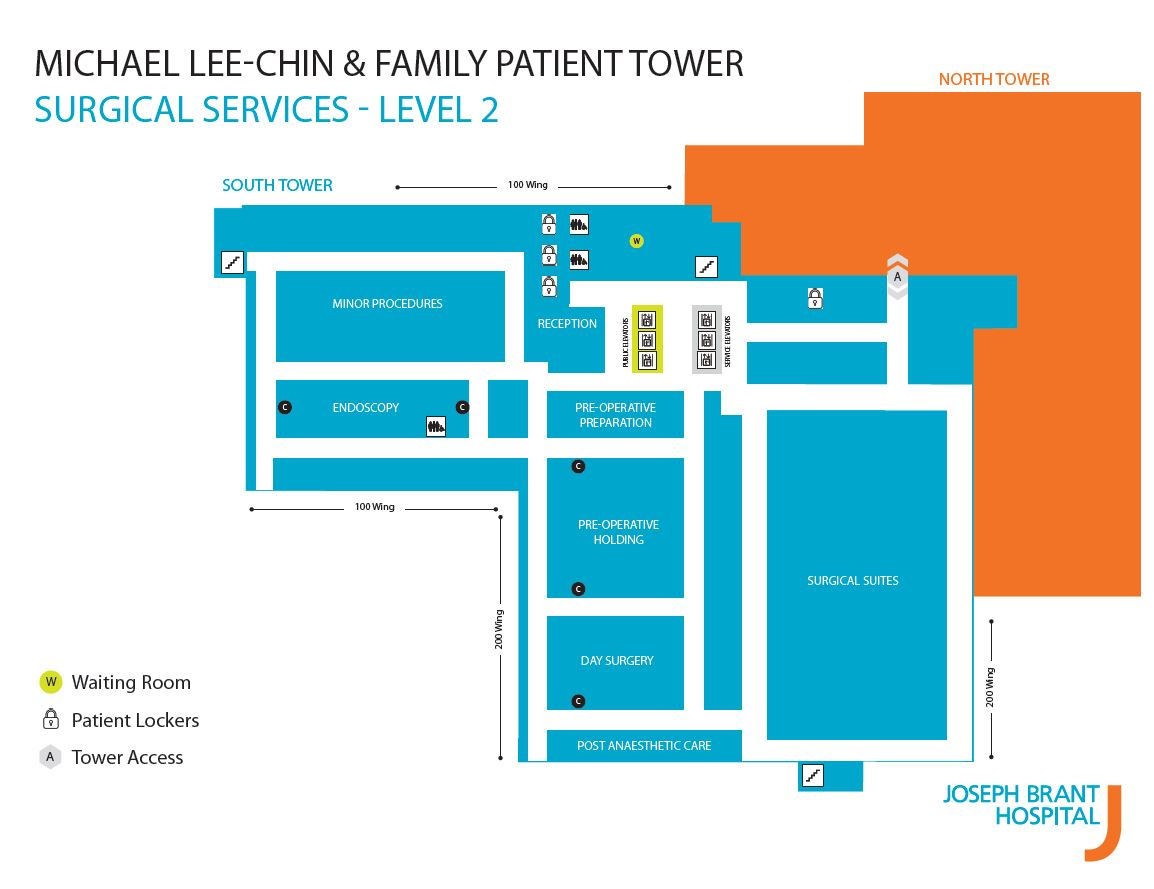 Map of Level 2 in new Patient Tower.