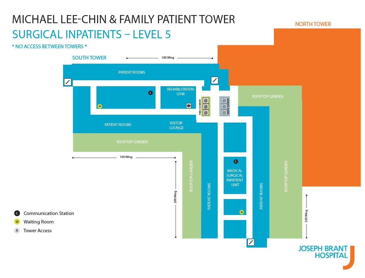 Map of Level 5 in new Patient Tower.