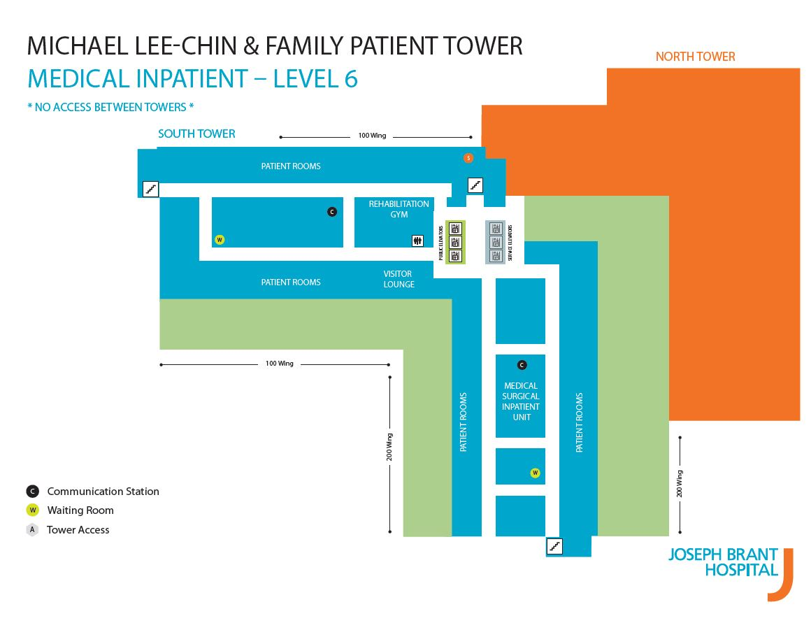 Map of Level 6 in new Patient Tower.